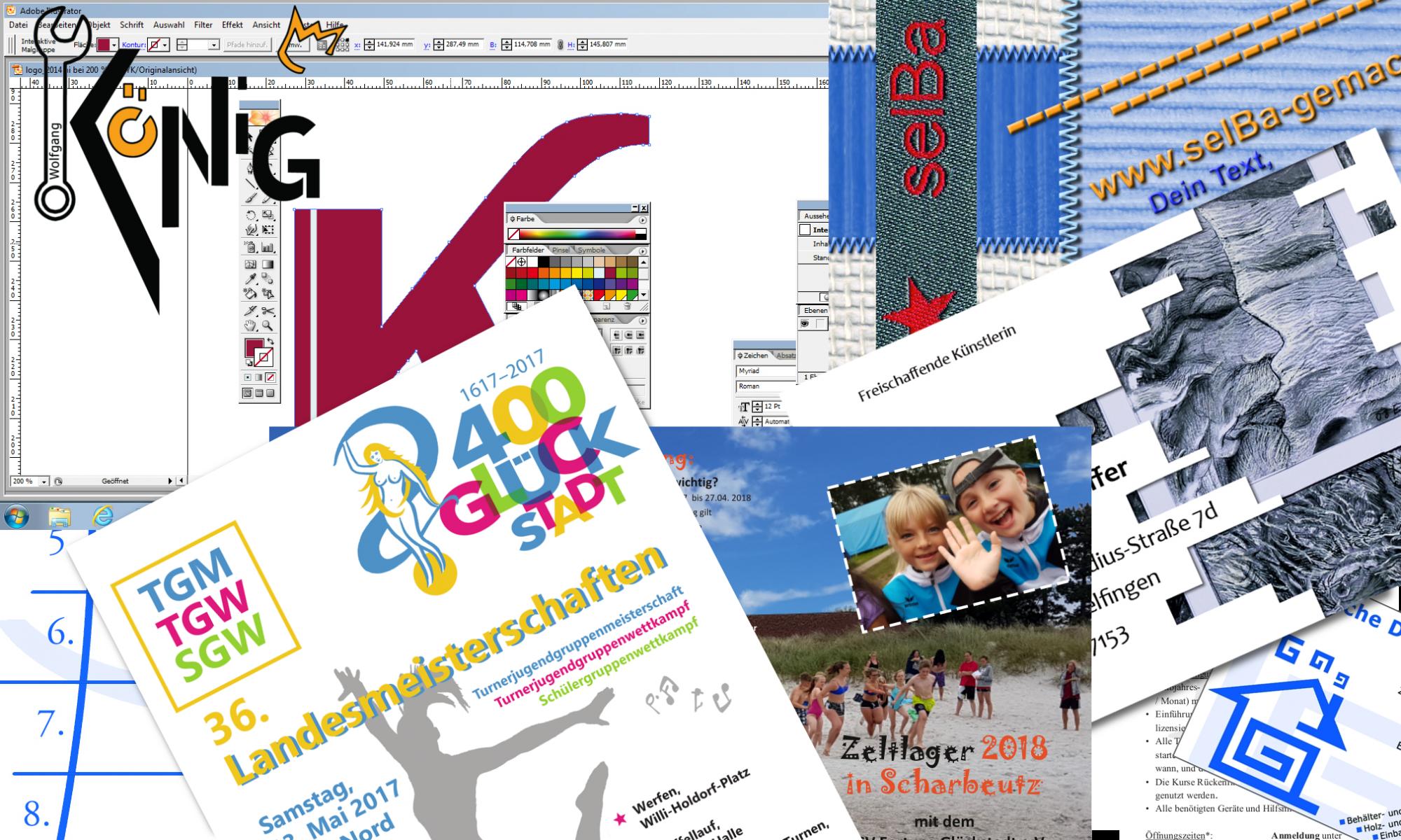 Collage Flyer, Logos, Visitenkarten, Illustrator