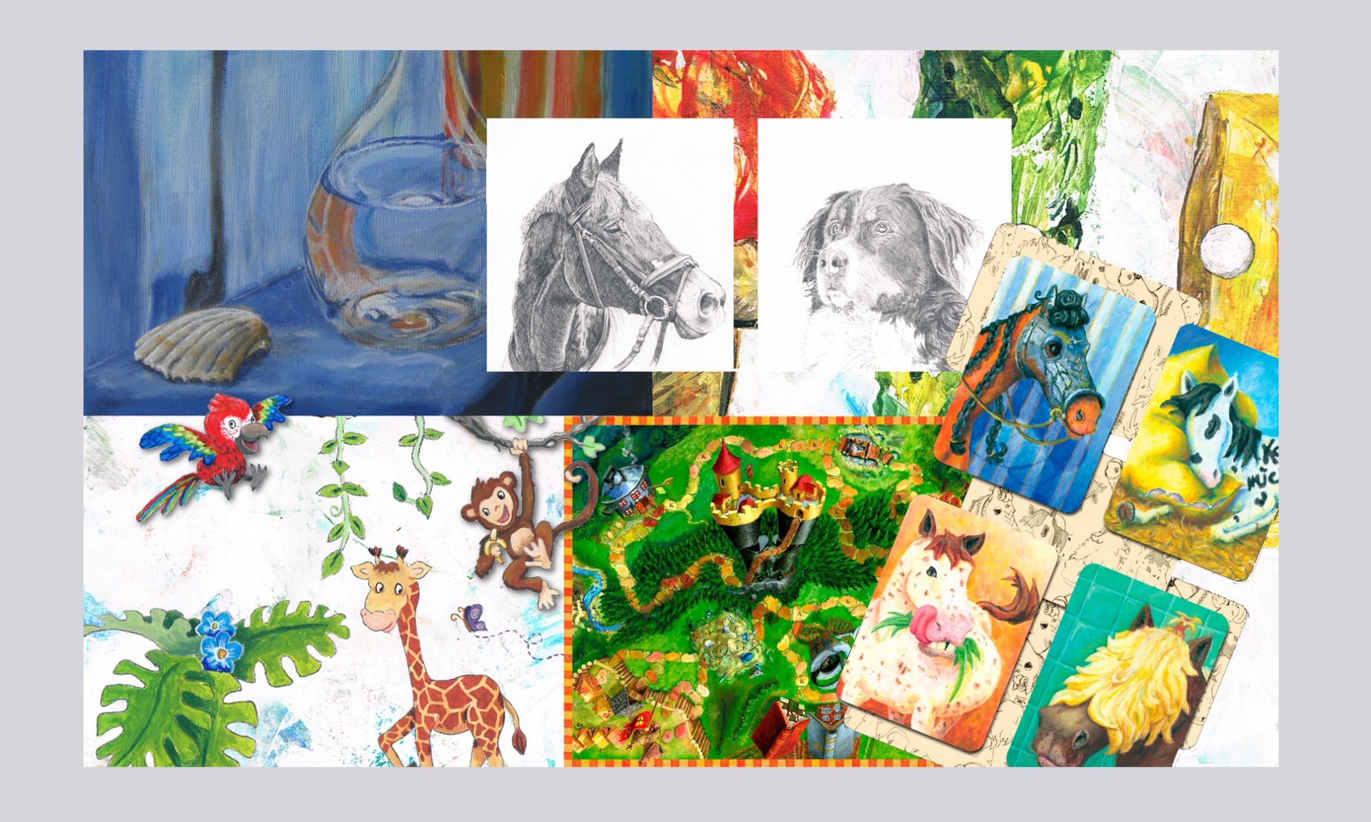 Collage Zeichnungen und Acrylmalerei
