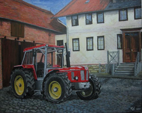 Acrylmalerei: Traktor vor Bauernhof